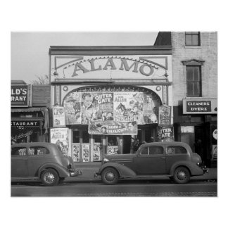 The Alamo Movie Theater, 1937. Vintage Photo Poster