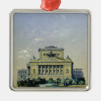 The Alexander Theatre in St. Petersburg, 1841 Silver-Colored Square Ornament