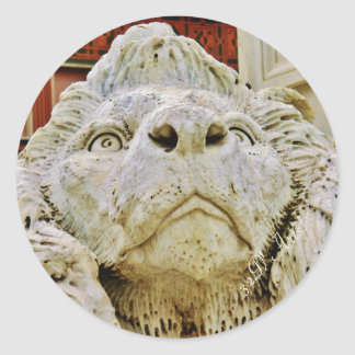 The Aloof Lion of Massa, Round Sticker, Glossy Classic Round Sticker