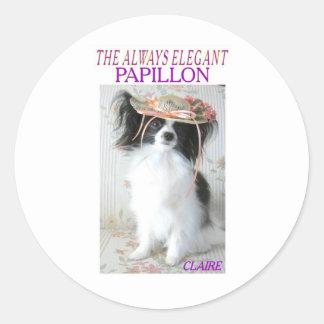 THE ALWAYS ELEGANT PAPILLON CLASSIC ROUND STICKER