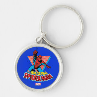 The Amazing Spider-Man Graphic Silver-Colored Round Keychain