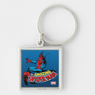 The Amazing Spider-Man Logo Silver-Colored Square Keychain