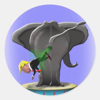 the amazing trumping elephant classic round sticker