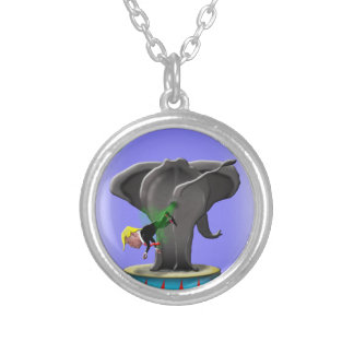the amazing trumping elephant silver plated necklace