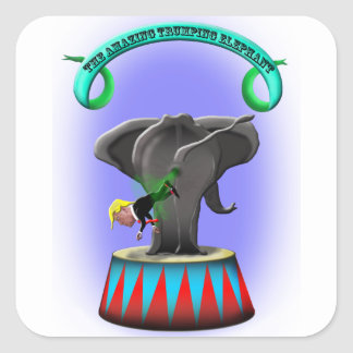 the amazing trumping elephant square sticker