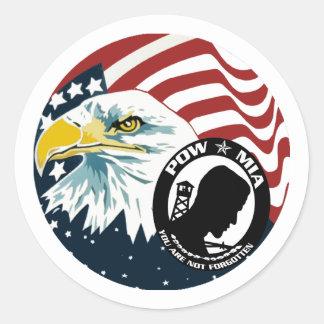 The American Eagle POW-MIA Round Sticker