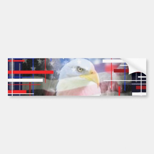 The American Eagle, red white and blue. Bumper Sticker