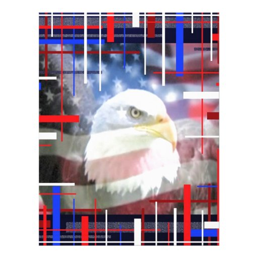 The American Eagle, red white and blue. Custom Letterhead