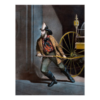 The American Fireman 1858 Vintage Poster