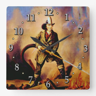 The American Fireman Victorian Firefighter Style 1 Square Wall Clock