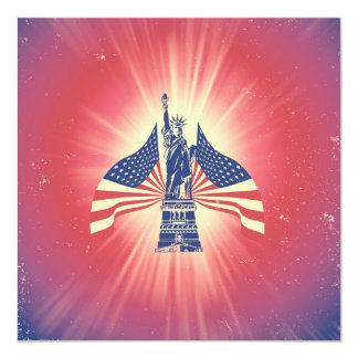 """The American flag and statue of liberty 5.25"""" Square Invitation Card"""