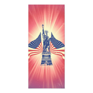 The American flag and statue of liberty 4x9.25 Paper Invitation Card