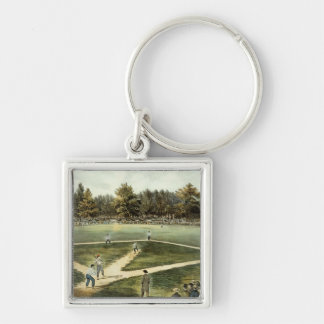 The American National Game of Baseball Silver-Colored Square Keychain