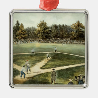 The American National Game of Baseball Silver-Colored Square Ornament