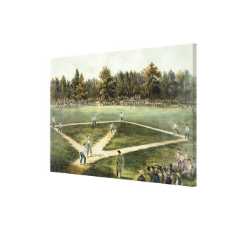 The American National Game of Baseball Stretched Canvas Print