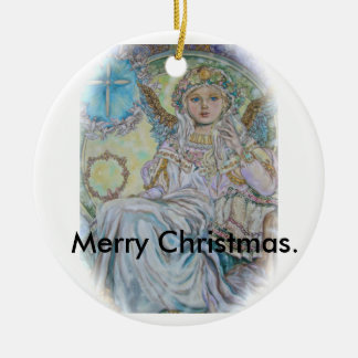 The angel of the Christmas rose., Merry Christmas. Ceramic Ornament