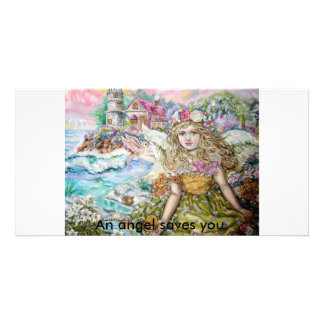 The angel of the pearl shellfish., An angel sav... Photo Cards
