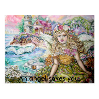 The angel of the pearl shellfish., An angel sav... Postcard