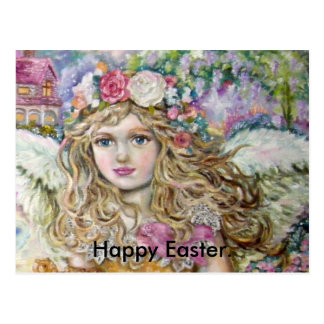 The angel of the pearl shellfish., Happy Easter. Postcard