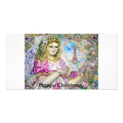 The angel of the rose quartz clock., Happy Chri... Picture Card