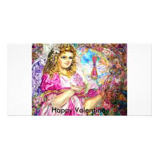 The angel of the sirloin quartz clock Happy V Custom Photo Card
