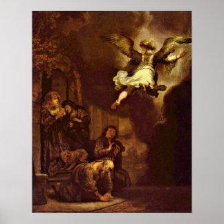The angel Raphael  by Rembrandt van Rijn Poster