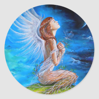 The Angel's Prayer Classic Round Sticker
