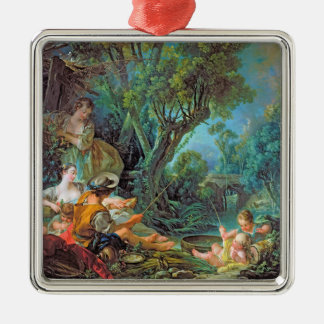 The Angler  Boucher Francois rococo scene painting Silver-Colored Square Ornament