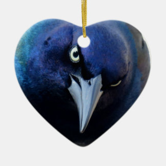 The Angry Grackle Ceramic Heart Ornament