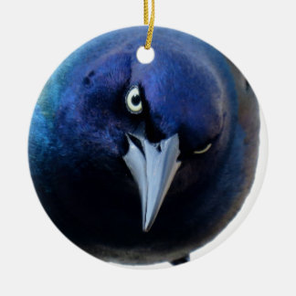 The Angry Grackle Round Ceramic Ornament