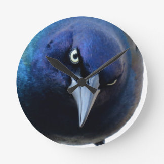 The Angry Grackle Round Clock