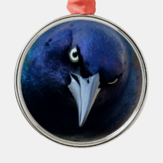 The Angry Grackle Silver-Colored Round Ornament