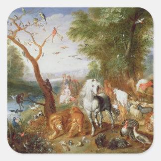 The Animals entering Noah's Ark Square Sticker