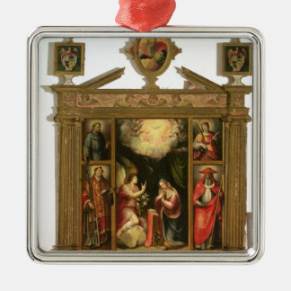 The Annunciation, 1581 Silver-Colored Square Ornament
