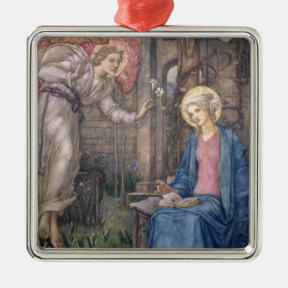 The Annunciation 2 Silver-Colored Square Ornament