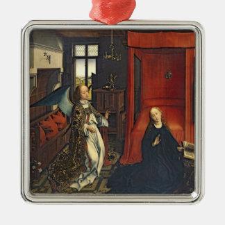 The Annunciation 3 Silver-Colored Square Ornament