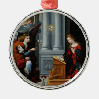 The Annunciation by Benvenuto Tisi Silver-Colored Round Ornament