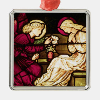 The Annunciation by Edward Burne-Jones Silver-Colored Square Ornament
