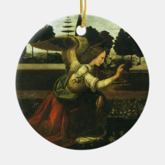 The Annunciation by Leonardo da Vinci Round Ceramic Ornament