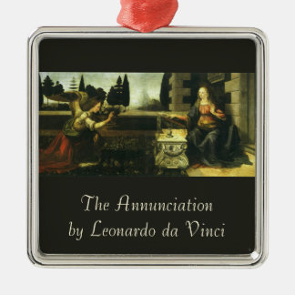 The Annunciation by Leonardo da Vinci Silver-Colored Square Ornament