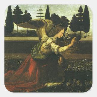 The Annunciation by Leonardo da Vinci Square Sticker