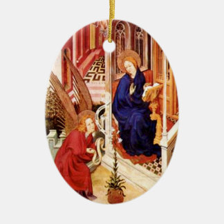 The Annunciation by Melchior Broederlam Christmas Ceramic Oval Ornament