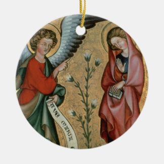 The Annunciation, c.1330 (oil on panel) Round Ceramic Ornament