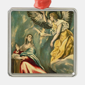 The Annunciation, c.1595-1600 Silver-Colored Square Ornament