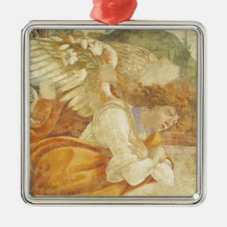 The Annunciation, detail of the Archangel Silver-Colored Square Ornament