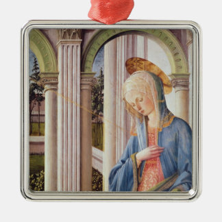 The Annunciation, detail of the Virgin Mary Silver-Colored Square Ornament
