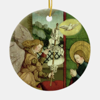 The Annunciation (oil on panel) Round Ceramic Ornament