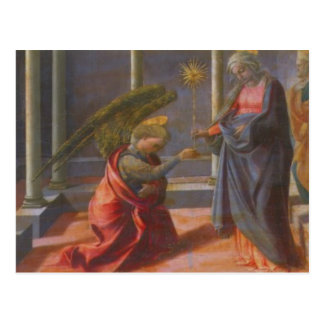 The Annunciation (predella of the Barbadori Altarp Postcard