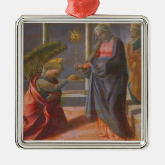 The Annunciation (predella of the Barbadori Altarp Silver-Colored Square Ornament