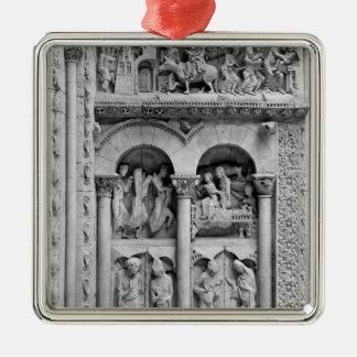 The Annunciation,Visitation, Adoration Magic Silver-Colored Square Ornament